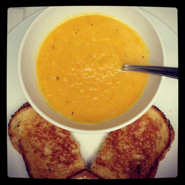 Butternut-Pear Soup and Grilled Cheese